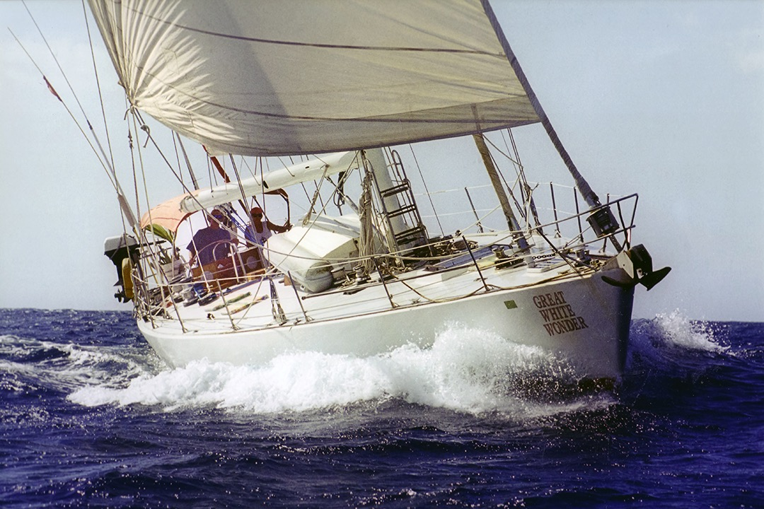 Ken Douglas and Vesta Irene sailing aboard The Great White Wonder.
