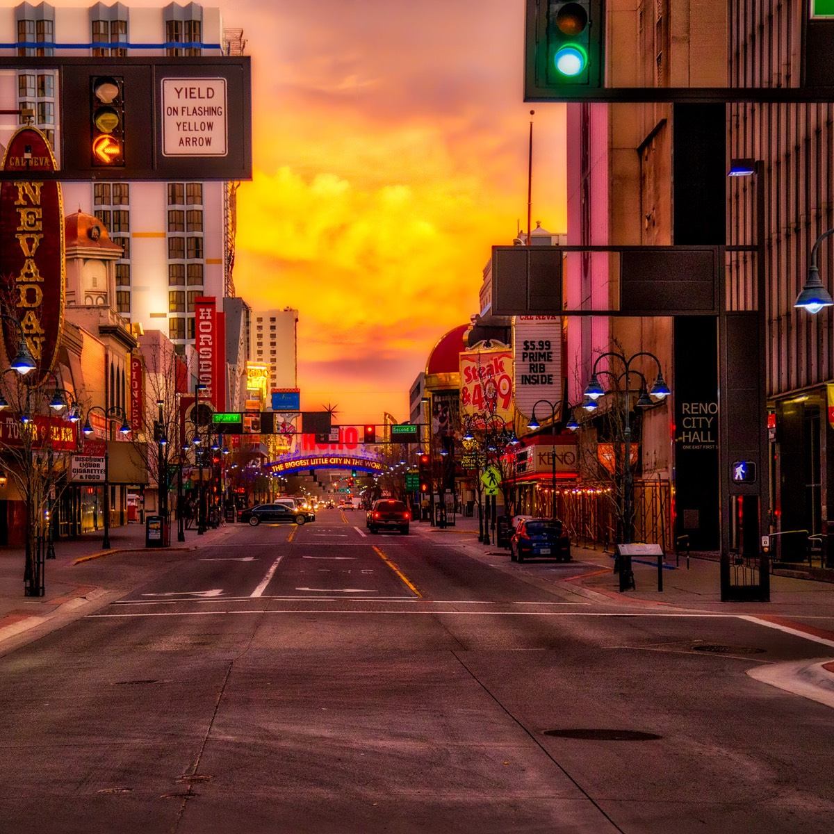 Downtown Reno with Yellow Sky, by Ken Douglas
