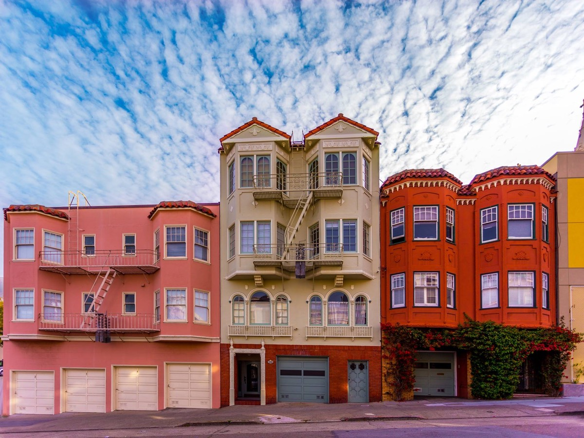 San Francisco Houses Under a cloudy blue sky