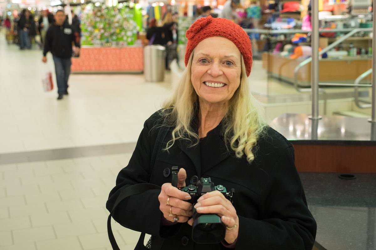 Vesta Irene with her camera at the Mall in Reno